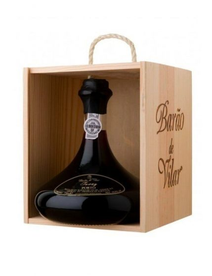 A Bottle of Barão de Vilar Tawny Decanter with Wood Box