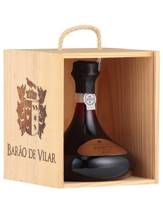 A Bottle of Barão de Vilar Tawny Reserve Decanter with Wood Box