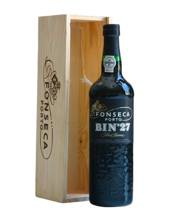 A Bottle of Fonseca Bin 27 with Wooden Box